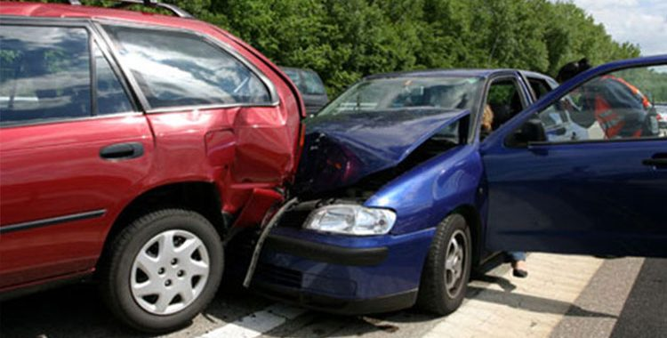 two cars road traffic accident